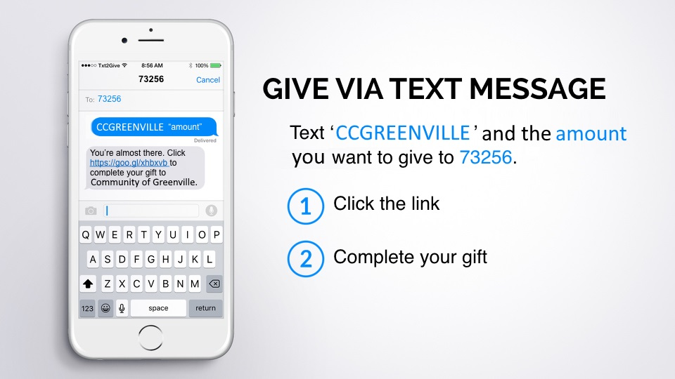 Realm Text Giving:: Text CCGREENVILLE to 73256 (REALM)